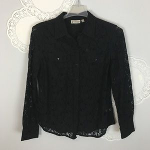 Sexy Stretch Lace Button Front Top Sz L